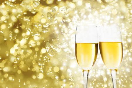bubble background: Champangne glasses on sparkling background