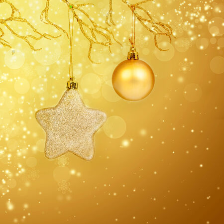 Golden Christmas background with christmas star photo