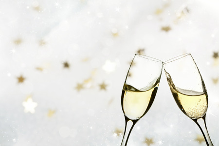 champagne glass: Champagne glasses on sparkling holiday background