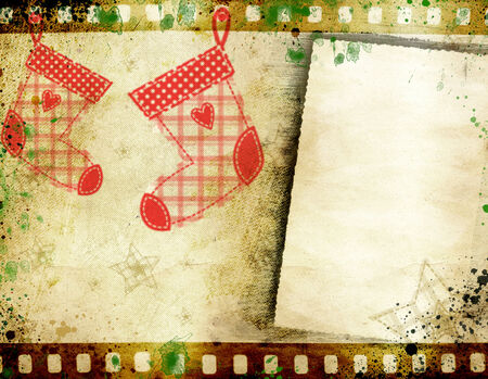 Grunge, retro Christmas background with copy space photo