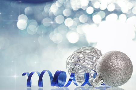 Silver Christmas background with Christmas balls and decorations photo