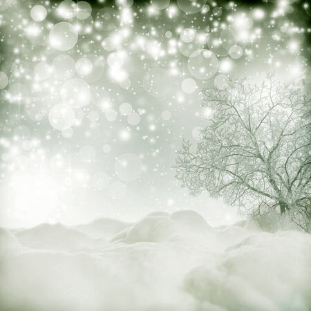 Vintage Christmas background with snowy trees