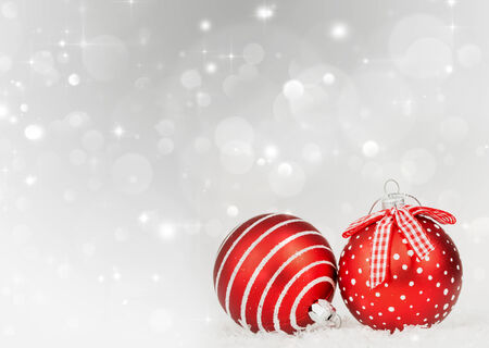Sparkling Christmas background with red baubles photo