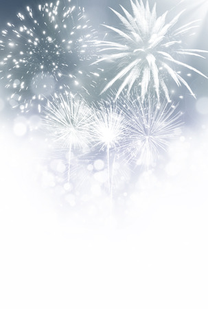 festive background: Fireworks at New Year and copy space Stock Photo