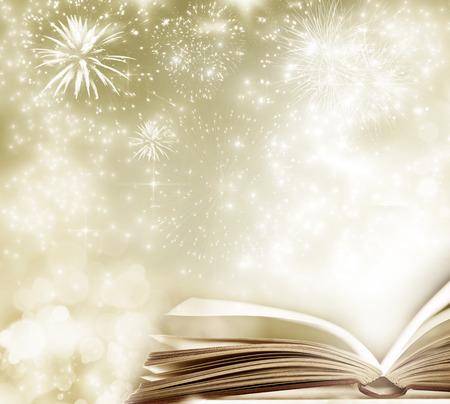 Fiaba di Natale. Sfondo Natale con libro magico