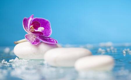 piedras zen: Todavía del balneario vida con la orquídea rosada y piedras zen en una piscina de la serenidad