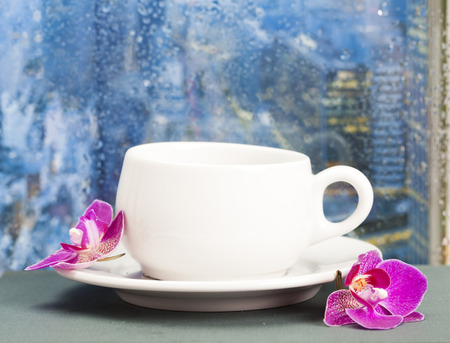 rainy day: Coffee cup and pink orchid on a rainy day in front of the wet city window