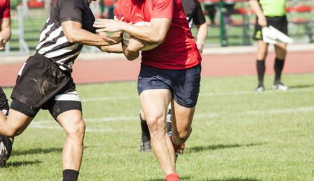 shove: Two rugby players during the game