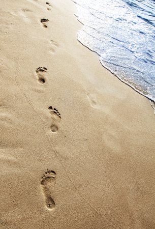 footsteps: Footsteps in the sand on the beach
