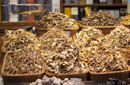 la boqueria: Dried mushrooms in a market, in La Boqueria, market Barcelona