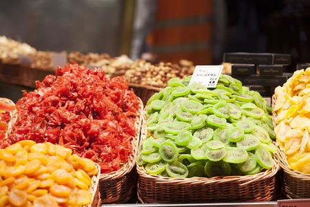 Various jelly candies and dried fruits exposed in the market
