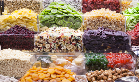 sugarcoat: Various jelly candies and dried fruits at the market