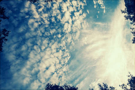 beautyful: Retro styled photo of beautyful blue sky and clouds