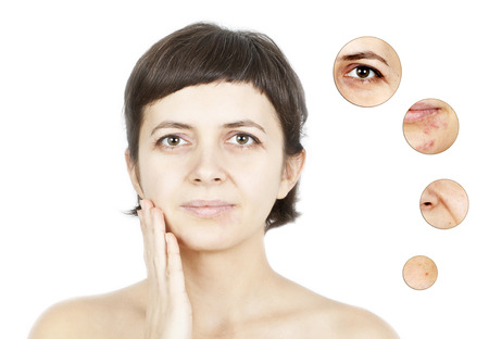 half face: Beauty concept - skin care, anti-aging procedures, rejuvenation, lifting, tightening of facial skin