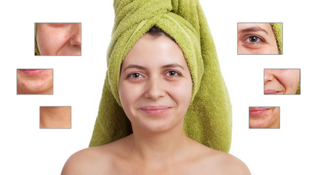 blackhead: Beauty concept - skin care, anti-aging procedures, rejuvenation, lifting, tightening of facial skin