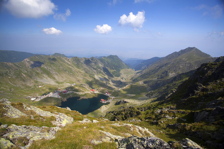 balea: Balea Glacier lake and high mountains in Fagaras, Carpathians,Romania,Europe Stock Photo