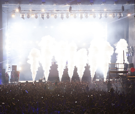napoca: Cluj-Napoca, ROMANIA - AUGUST 3, 2015: Crowd having fun during a live concert at Untold Festival in the European Youth Capital city of Cluj Napoca Editorial