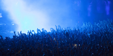 cheer full: Cheering crowd at a concert Stock Photo