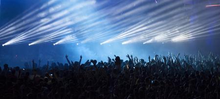 콘서트에서 군중을 응원합니다 스톡 콘텐츠