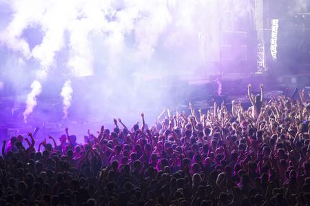 Cheering crowd at a concert Foto de archivo