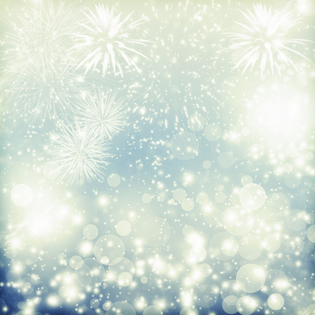 fires artificial: Fireworks at New Year and copy space Stock Photo