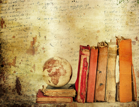 school aged: Vintage background with old books. Back to school concept