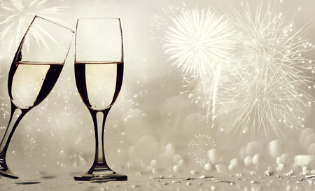 anniversary backgrounds: Champangne glasses on sparkling background - New Year concept