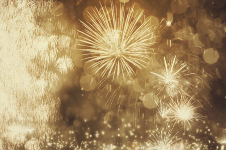 fires artificial: Fireworks at New Year - holiday background