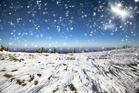 new years vacation: Fantastic winter landscape in the high mountains, Carpathian, Romania Stock Photo