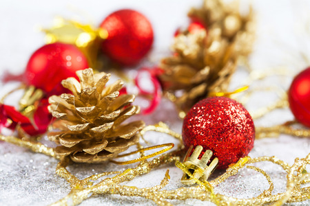 christmas decorations with white background: Christmas decorations on white background
