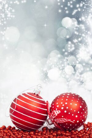 the snowflake: Sparkling Christmas background with baubles Stock Photo