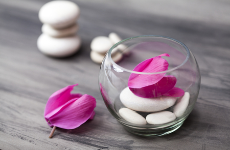 spirituality therapy: Spa still life with pink orchid, white zen stone and tea candle on dark  background Stock Photo