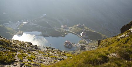 balea: Landscape from Balea Lake, Fagaras Mountains, Romania in the summer Stock Photo