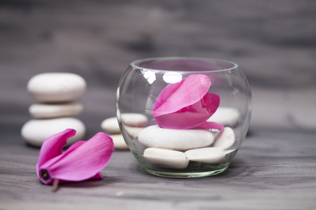 tea candle: Spa stones and tea candle with pink flower on white background