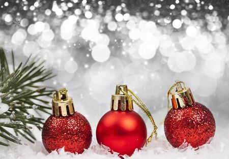 Sparkling Christmas background with red baubles