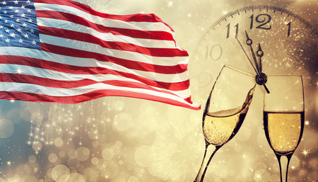 United States of America USA flag with fireworks and champagne background for 4th of July Фото со стока