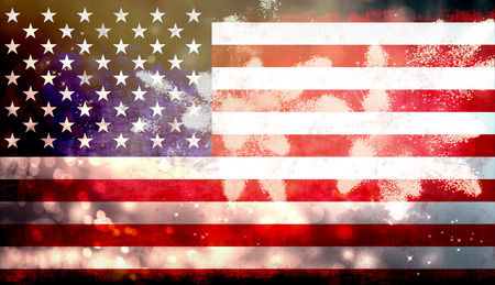 United States of America USA flag with fireworks background for 4th of July