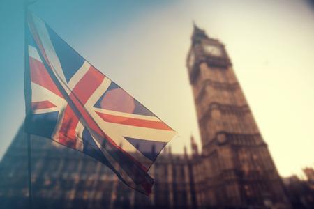 영국 연합 잭 플래그와 빅 벤 시계탑 및 백그라운드에서 웨스트 민스터시 의회 집 - 영국 투표 유럽 연합, Brexit 개념을 떠나