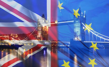 United Kingdom and European union flags combined, Tower Bridge in the background - UK votes to leave the EU, Brexit concept