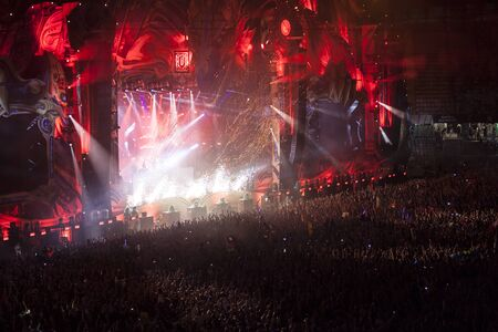 Cluj-Napoca, Romania - August 6, 2017:  Crowd having fun at Afrojack, a Dutch DJ, record producer and remixer from Spijkenisse, live concert at Untold Festival, the Best Major Music Festival of Europe Editorial