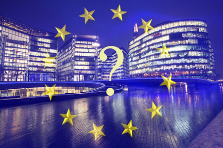 Brexit concept - UK economy after Brexit deal -  double exposure of EU flag and London business center