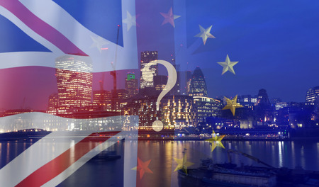 Brexit concept - UK economy after Brexit deal -  double exposure of flags and London business center Фото со стока - 120923191