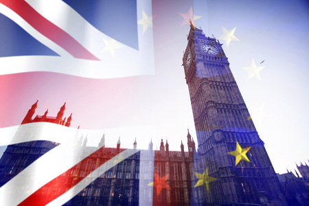 Brexit concept - image of Big Ben and UK and EU flags overlaid symbolising agreement and deal being processed