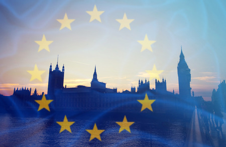 Brexit concept - image of Big Ben and EU flag overlaid symbolising agreement and deal being processed Stock Photo