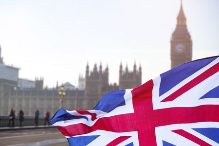 Brexit concept - image of Big Ben and UK flag