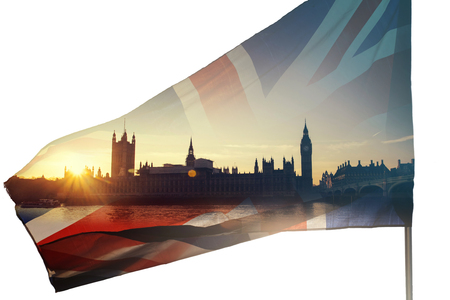 Double exposure photo of UK flag and Westminster Palace with Big Ben - Brexit concept