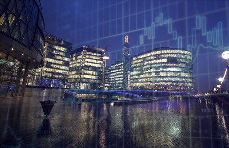 Brexit concept - UK economy after Brexit deal -  double exposure of economical chart and London business center