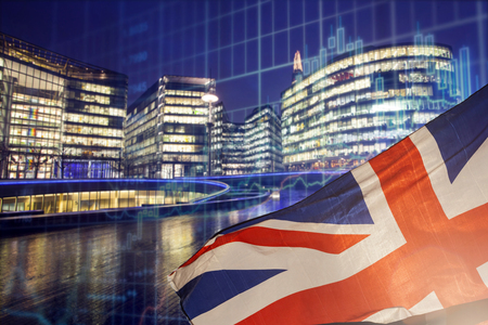 Brexit concept - UK economy after Brexit deal - EU flag and London business center combined