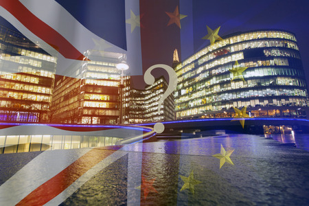 Brexit concept - UK economy after Brexit deal -  double exposure of flags and London business center