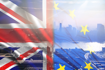 British union jack flag, EU flag and aerial view of London - UK leaving the EU, Brexit concept Stock Photo